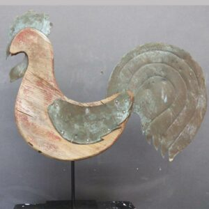 Wooden and copper rooster weathervane, remnants of red paint. $