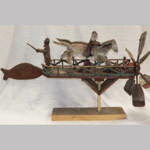 Folky wooden whirligig, 2 horses with men and man standing at back fishing. $