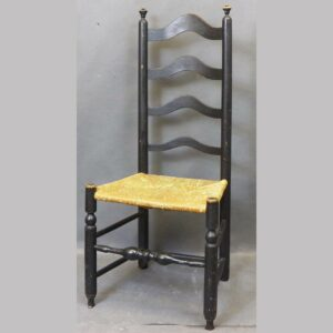 16-27548, Delaware Valley ladder back side chair, 4 arched slats, rush seat, early black paint. $695