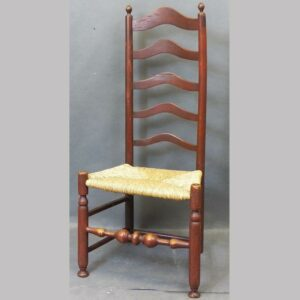 16-26782, Delaware Valley ladder back side chair, 5 arched slats bulbous stretcher old red, late 18th century. $975