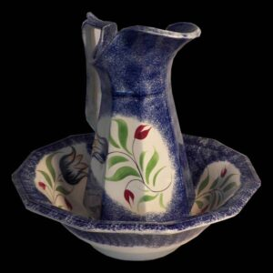 16-27566 Blue Spatter Wash Bowl and Pitcher Image
