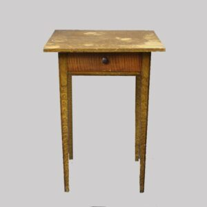 28-19016, Paint decorated one drawer stand with tapered legs, unusual tiger maple drawer front. $975