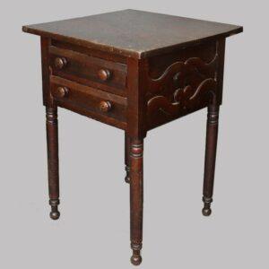 12-21244, Walnut Sheraton 2 drawer stand, turned legs applied scalloped designed sides, Lancaster/Lebanon, Co., PA. $775