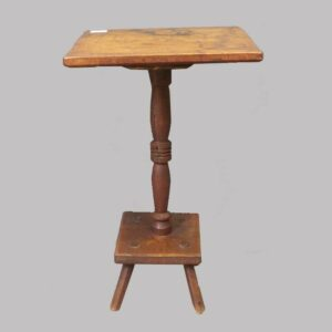 16-27764, PA or New England butternut candle stand turned pedestal, mortised legs, Early 19th century. $950