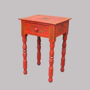 16-27091, Paint decorated Sheraton youth sized stand, one drawer turned legs, vibrant red paint with stenciling, western PA-Ohio. $4,850
