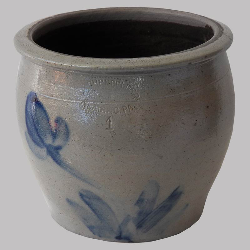 2-14778, ! gallon stoneware crock, cobalt tulip decoration, signed Shenfelter Reading PA. $495