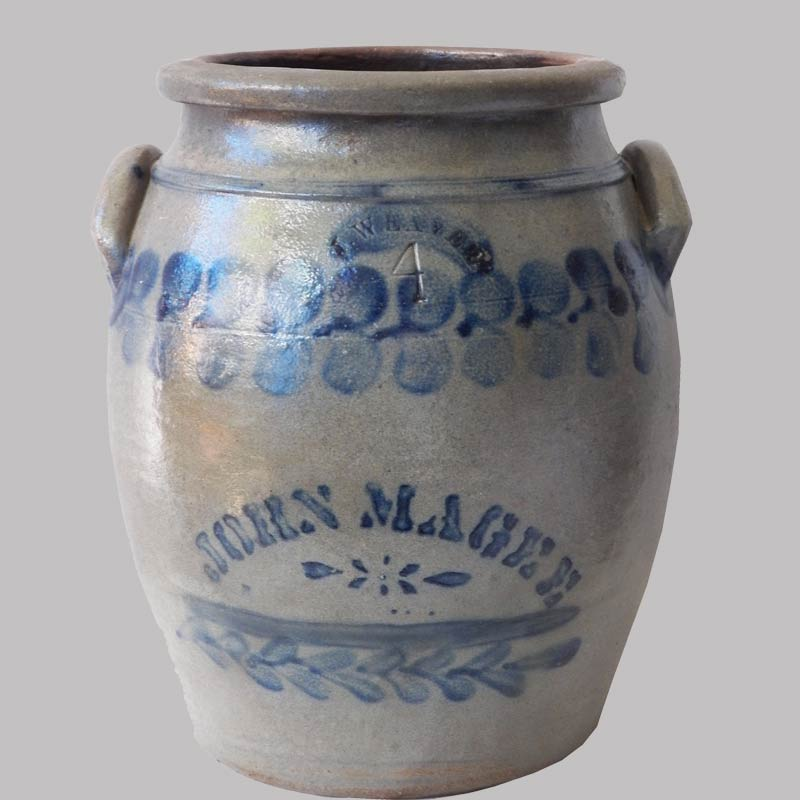 16-27414, 4 gallon stoneware jar cobalt blue decorated unusual stenciled name by J. Weaver. $1,295