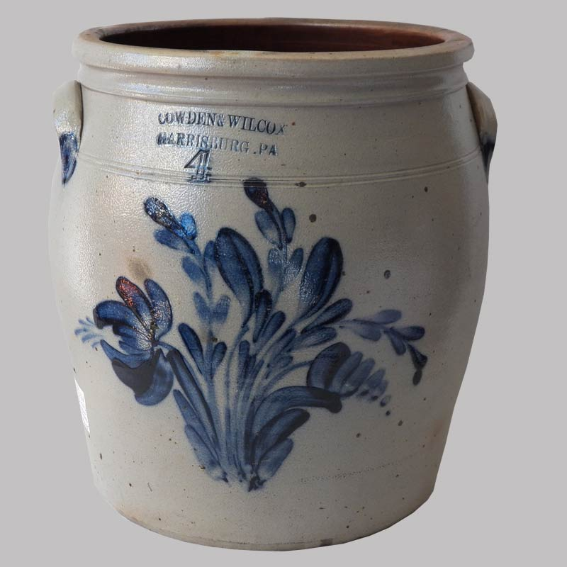 16-27814, 4 gallon stoneware jar bold full cobalt floral pussy willow decoration, Cowden & Wilcox, cracks to base. $1,200