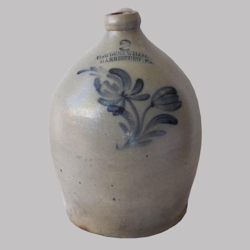 16-27813, 2 gallon stoneware jug cobalt floral decoration, Cowden & Wilcox, fine condition. $450