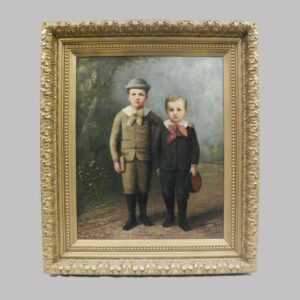 31-21003 Painting on canvas, a portrait of two young boys Image