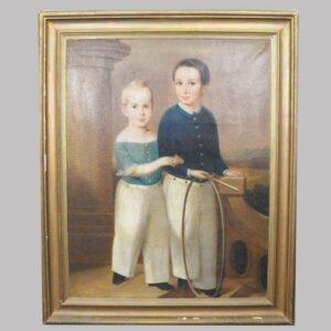 16-27769 Large folk art painting on canvas full body portrait of two children Image