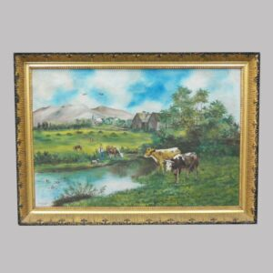15-25331 Folky painting on canvas colorful rural farm scene Image