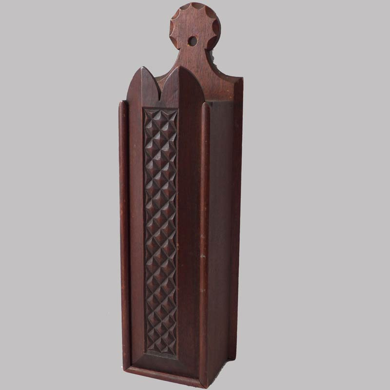 16-27095, Mahogany slide lid hanging candle box, carved design, lollipop hanger, exceptional condition, 19th century. $1,950