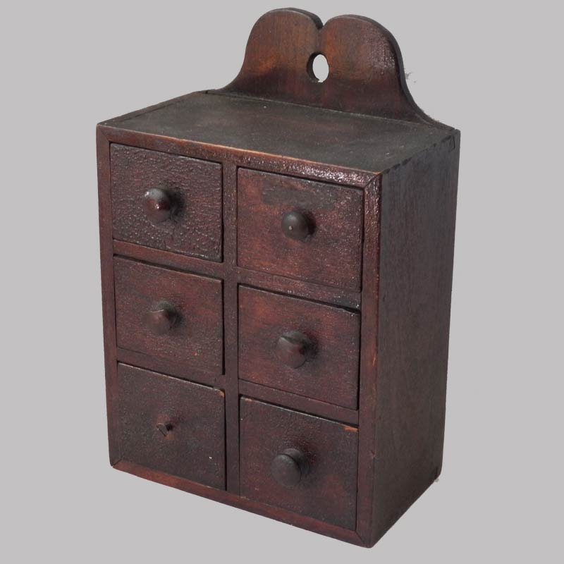 15-25635, Pa miniature walnut hanging 6 drawer spice box, dovetailed case, original surface, 1 knob missing 1 replaced. $695