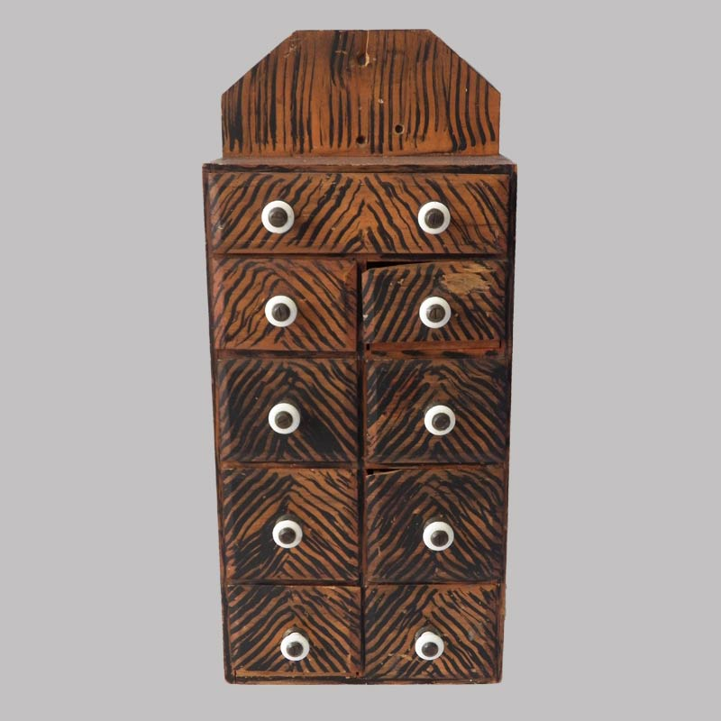 28-17595x, PA hanging spice box 9 drawers original salmon and black stipple paint, some loss to drawer lip. $800