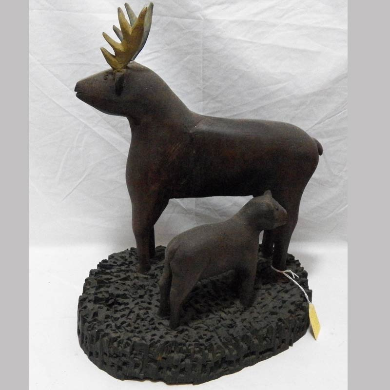 """13-22692, Folk art wood carving of 2 deer, painted surface, early 20th century, 15"""" H. $595"""