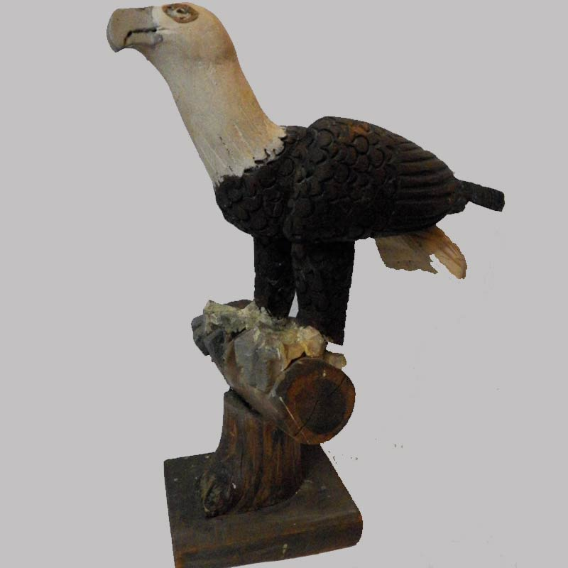 """18-52200, Painted and carved wood eagle on log perch, early 20th c, 16"""" H. $695"""