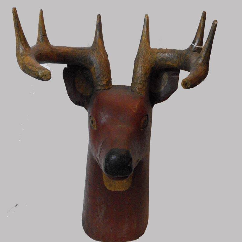 """17-29924, Figure of a deer head, original paint, American late 19th early 20th c, Probably OH/PA, 23"""" H. $3,450"""