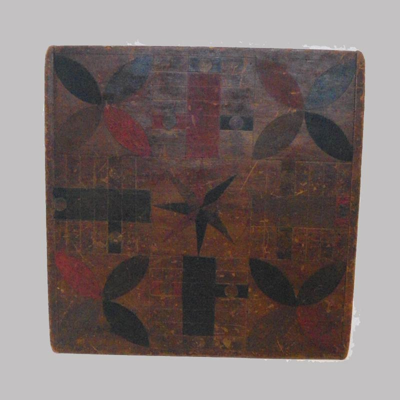 """1832914, Painted game board, Checkers & Parcheesi, 19th century, original paint. 17"""" sq. $950"""
