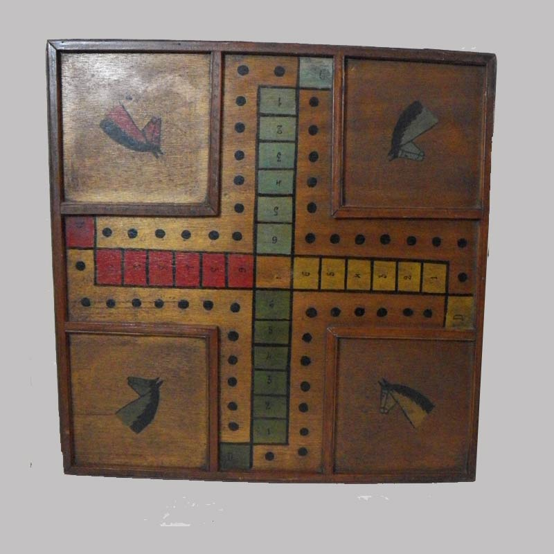 """18-31442, unusual game board polychrome paint, horse head sections, late 19th early 20th  century, 19"""" sq. $550"""