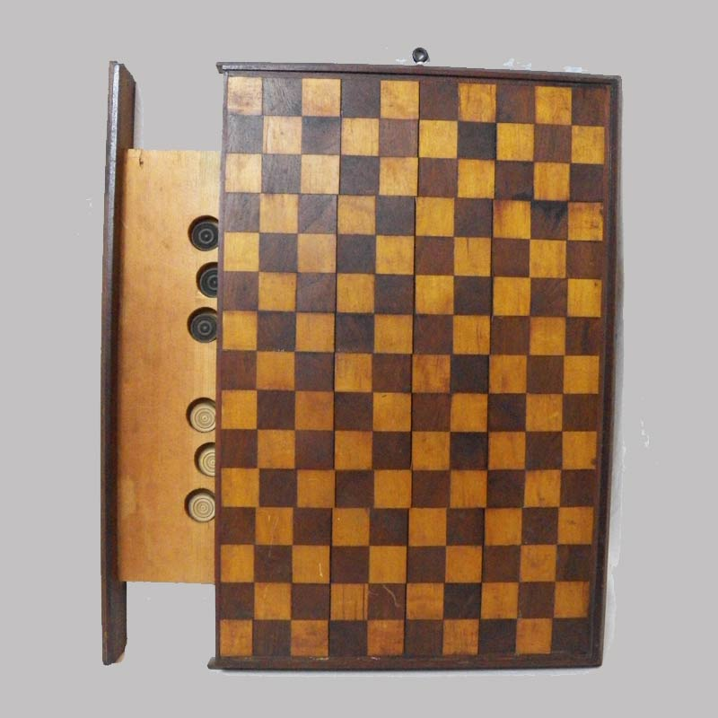 """15-24949, Mahogany and maple game board with pullout compartment for checker pieces, 19th century, 20 1/2"""" by 14"""". $695"""