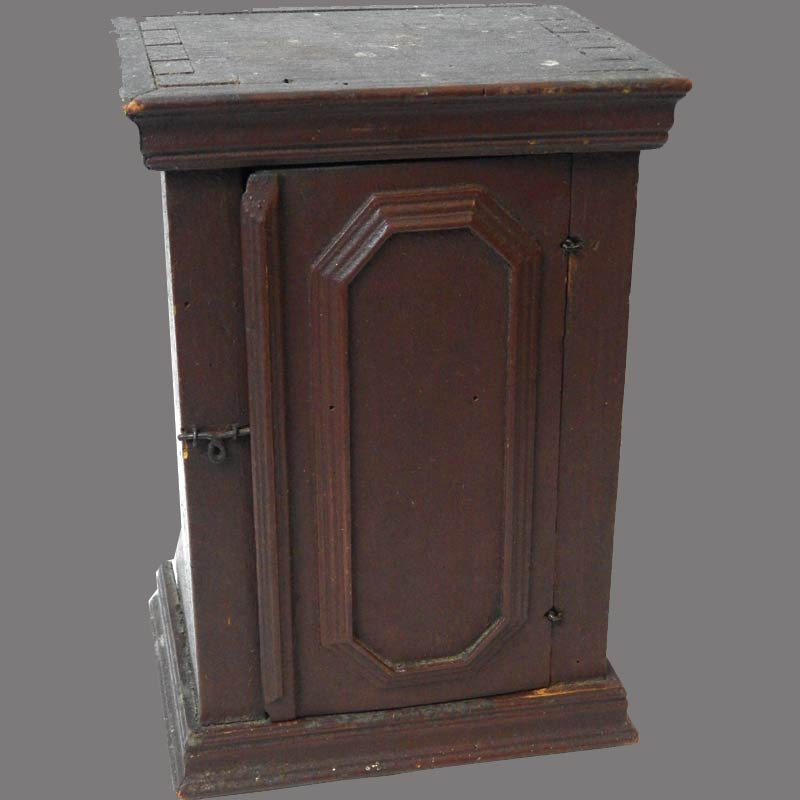 """23-7037, Single door cupboard, dovetailed case having applied molding on door, snipe hinges and original red paint.  American or English, Later 18th century. 10"""" H. $3,950"""