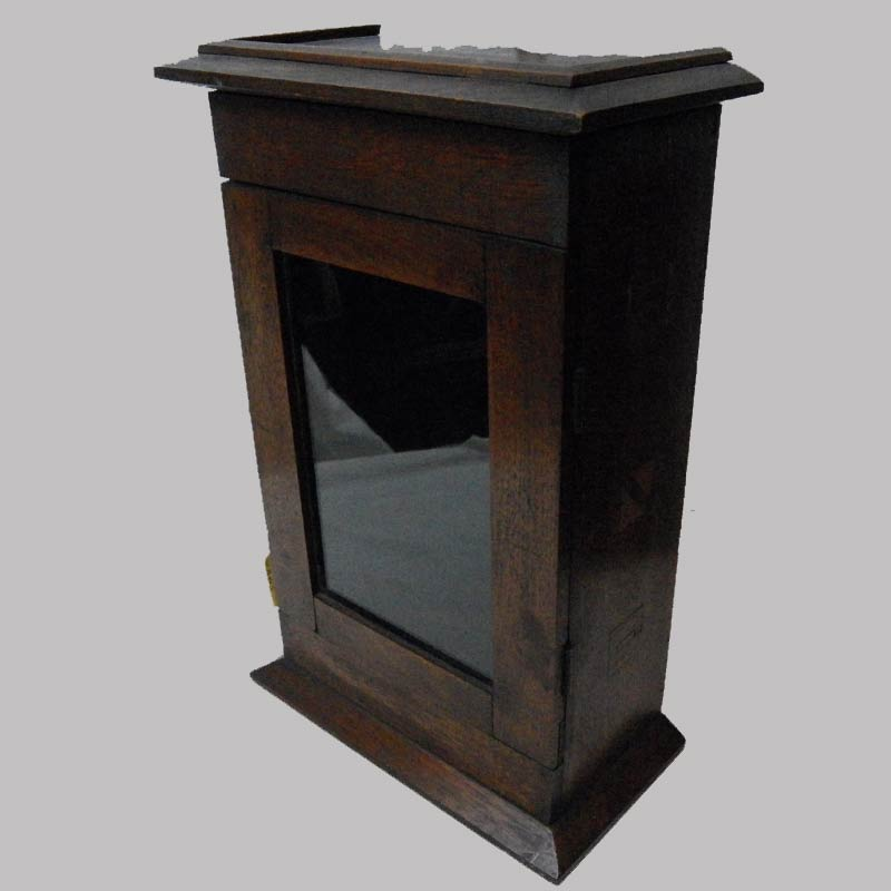 """18-32469, Walnut hanging clock hutch, wood inlays to the sides, single glass door. Western PA, 19th century. 14"""" H. $595"""