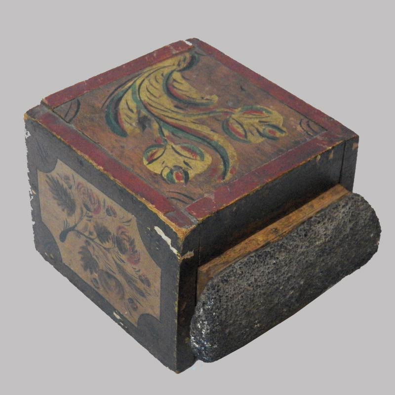 """Rare paint decorated PA box with match striker on drawer front, floral decorated, found in Reinhold's.  4"""" H by 5"""" L. $2,450"""