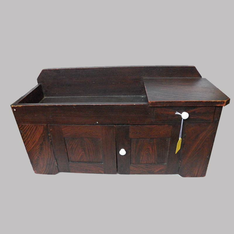"""18-31585, Miniature paint decorated dry sink original red and black graining, 19th century. 22"""" L by 10"""" H. $1,850"""