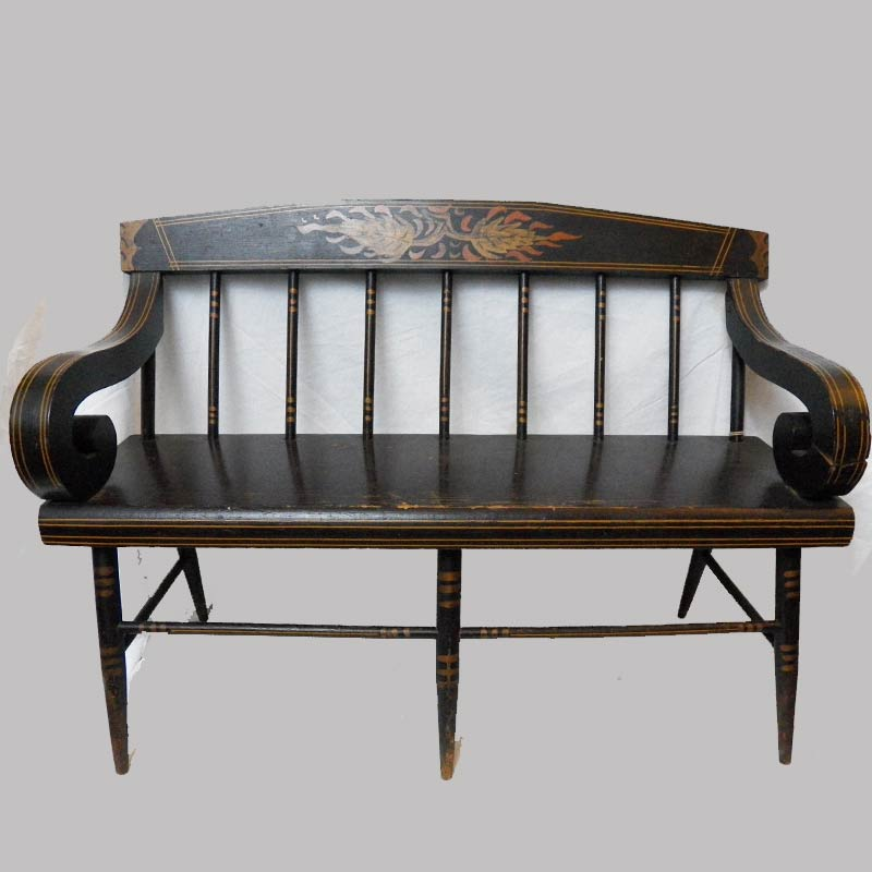 """15-25761, Paint decorated mini or child's size plank seat settee, late 19th century, probably PA. 24"""" L by 17"""" H. $1,250"""