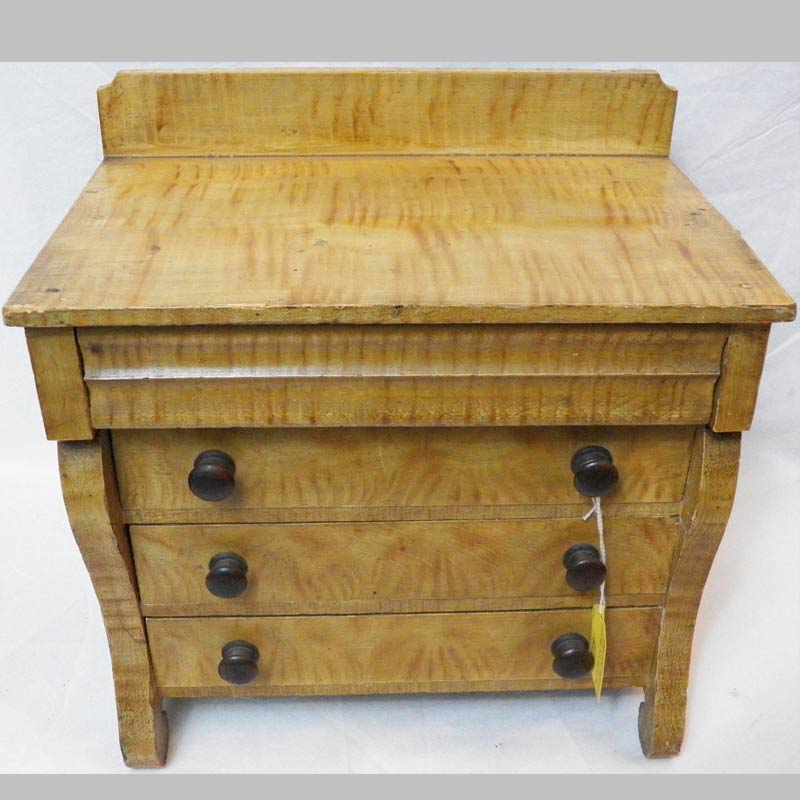 """31-22643, Miniature paint decorated chest of drawers, empire period, Lebanon/ Lancaster  Co. PA. 11"""" L by 12"""" H. $775"""
