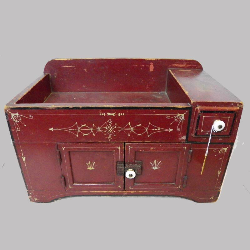 """18-31343, Miniature dry sink paint decorated original red white graphic designs, PA late 19th century. 17""""L by 11"""" H. $875"""