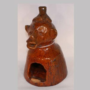 """12-21185, Rare Redware pottery figural whimsey profile of a monkey with leaf hat manganese glaze, American 1850-75, Probably PA. 6"""" H. Image"""