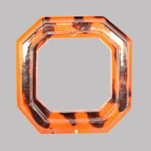 "18-32030, Signed PA Redware picture frame red, orange manganese splash decoration, 19th c. 6 1/2""  Image"