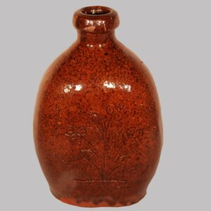 """30-20289, Redware flask incised flowers and Charles Joseph, April 5 1869, Indiana or PA, 6"""" H. Image"""