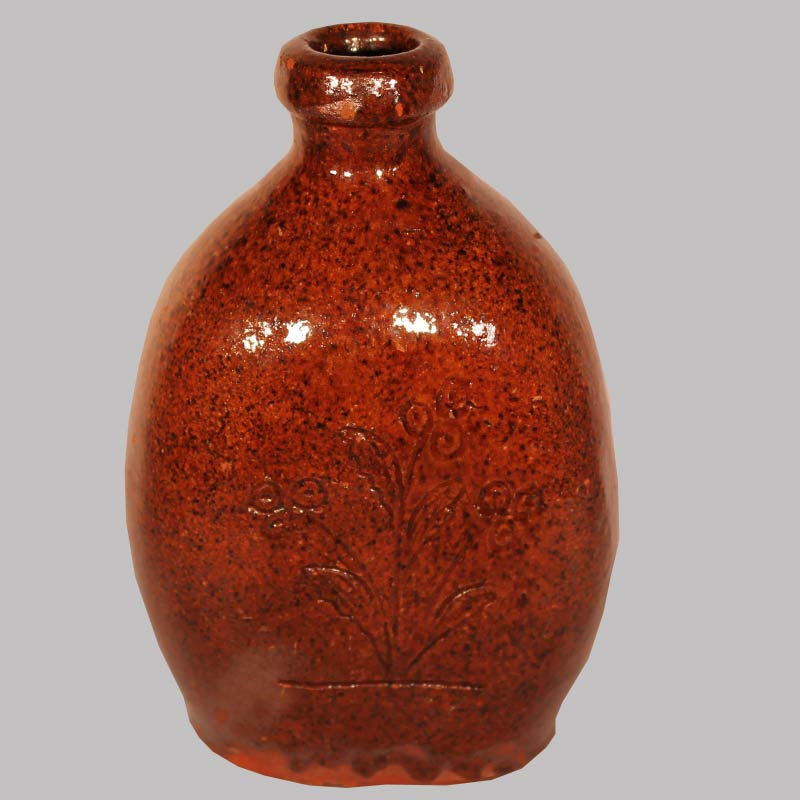 "30-20289, Redware flask incised flowers and Charles Joseph, April 5 1869, Indiana or PA, 6"" H. $3,250"