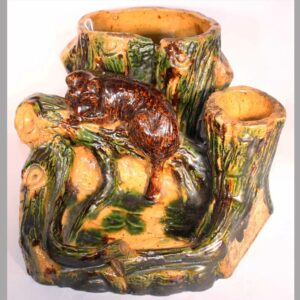 "20-7249x, Rare Redware pottery figural match safe, multi color glaze signed John Kunsman maker June 1, 1885, NJ. 4 1/2"" high by 7"" wide. Image"