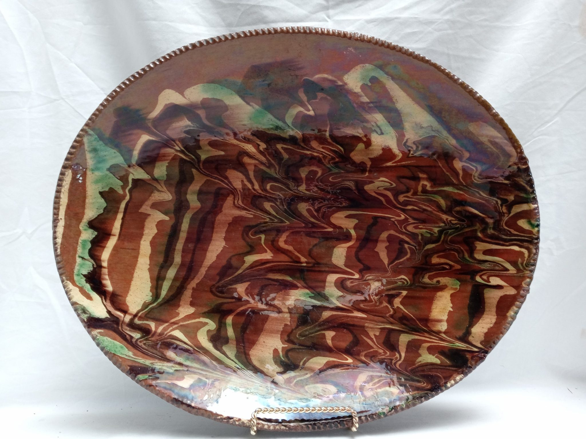 28-18503 Rare Redware Pottery loaf dish, marbleized slip decoration yellow, brown, green. Pro. Conn. Image