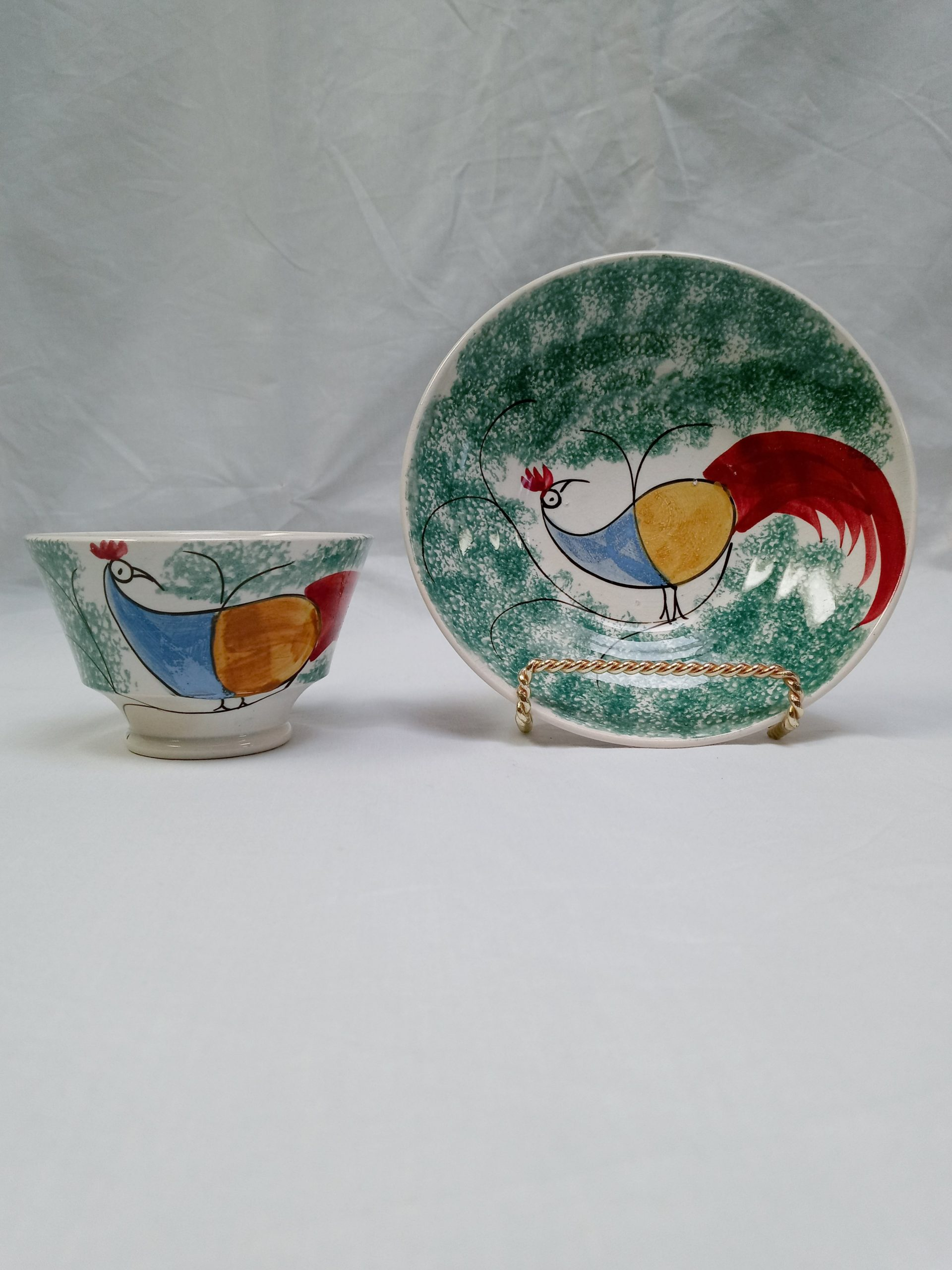 200-36851 Green Spatter Cup and Saucer Image