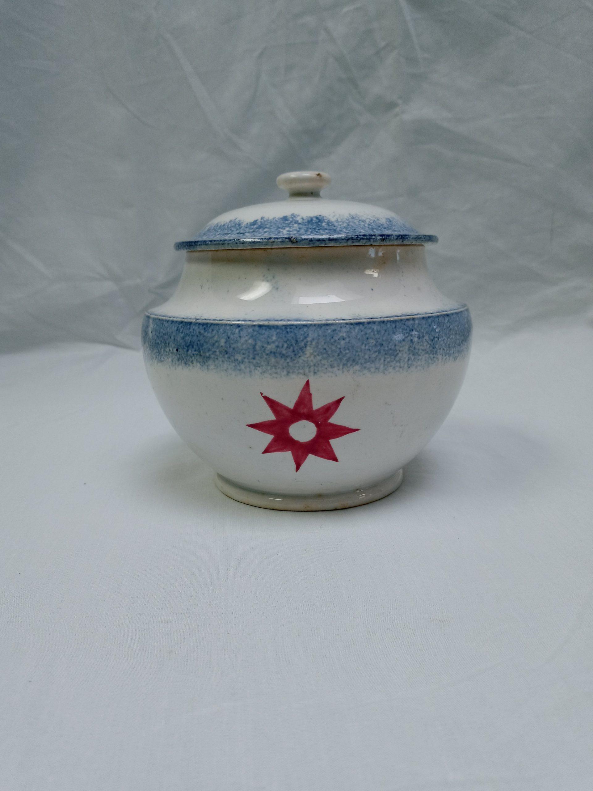 200-36848 Blue Spatter Sugar Bowl Image
