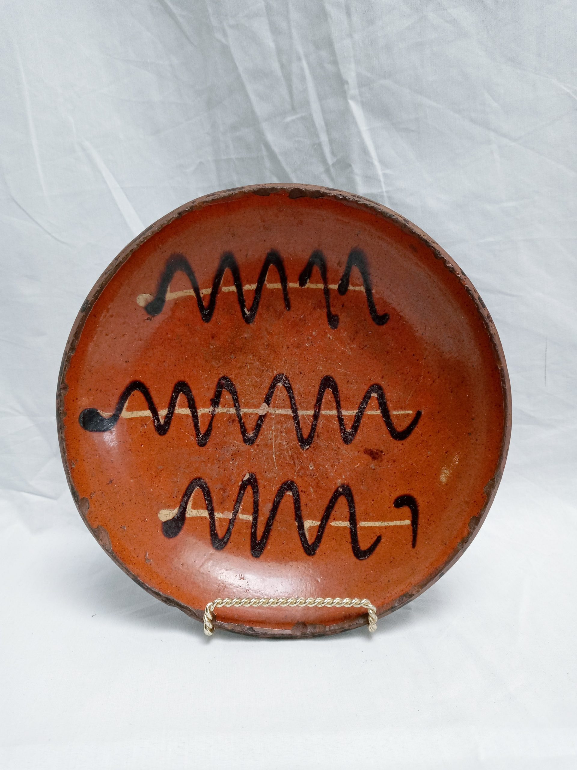 18-31725 Pennsylvania Redware Pottery Plate, two color yellow and brown decoration. Image