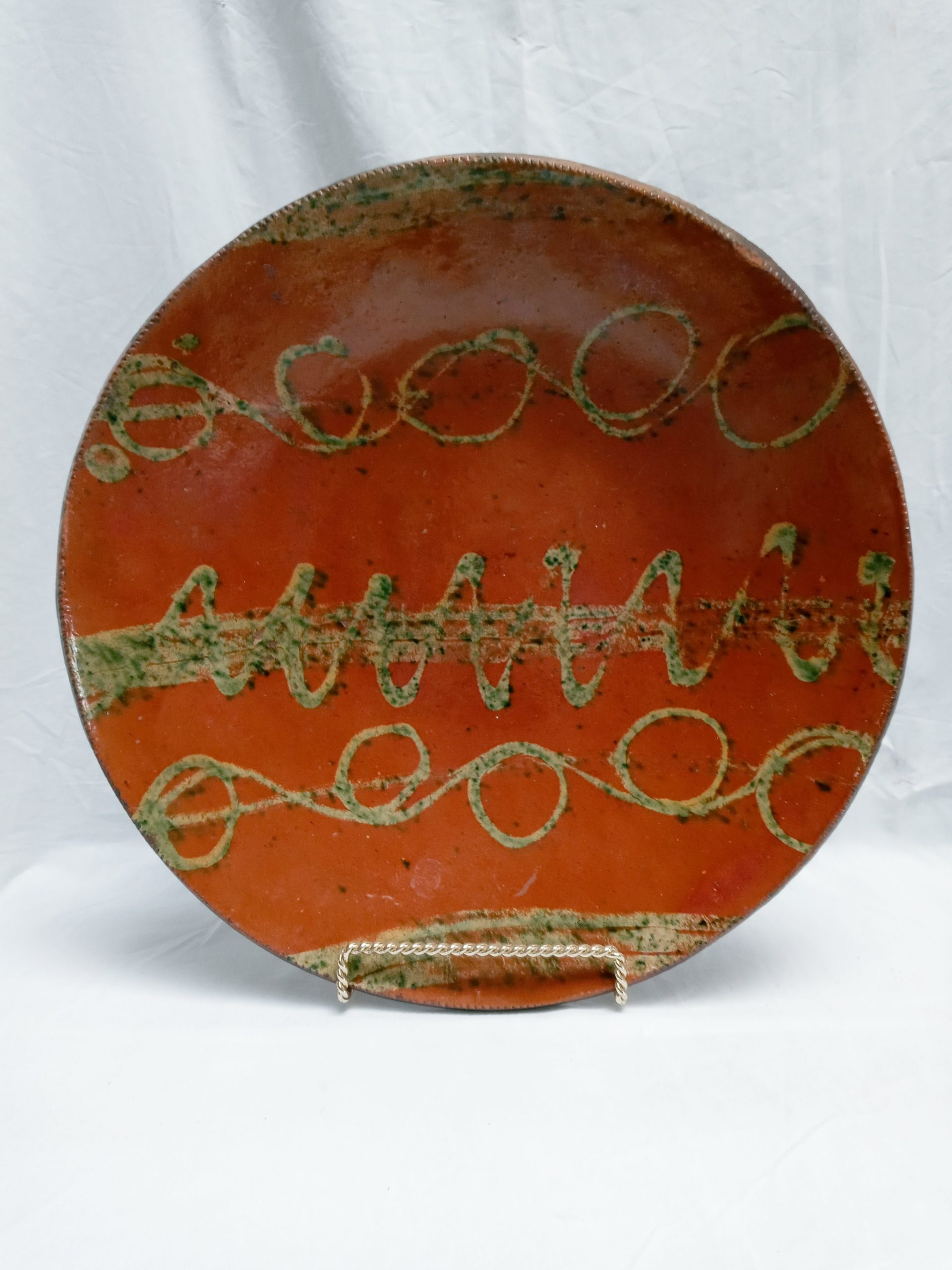 """200-35622 Rare 15 1/4"""" Redware Pottery Charger, graphic yellow and green slip decoration, Connecticut, backside loss, front almost mint. Image"""