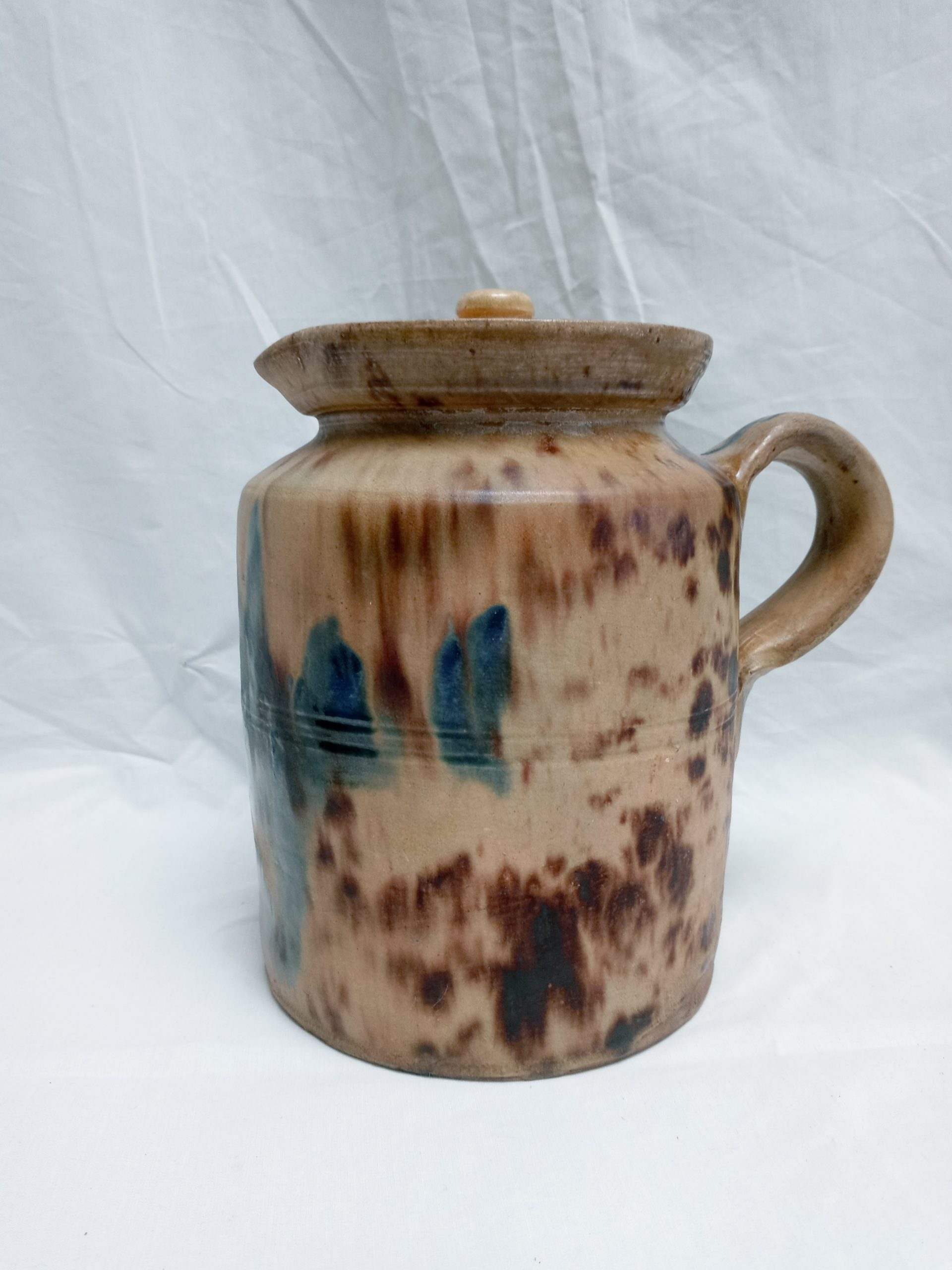 200-35941 Rare Stoneware-Redware Pottery, straight sided pitcher with cover Image