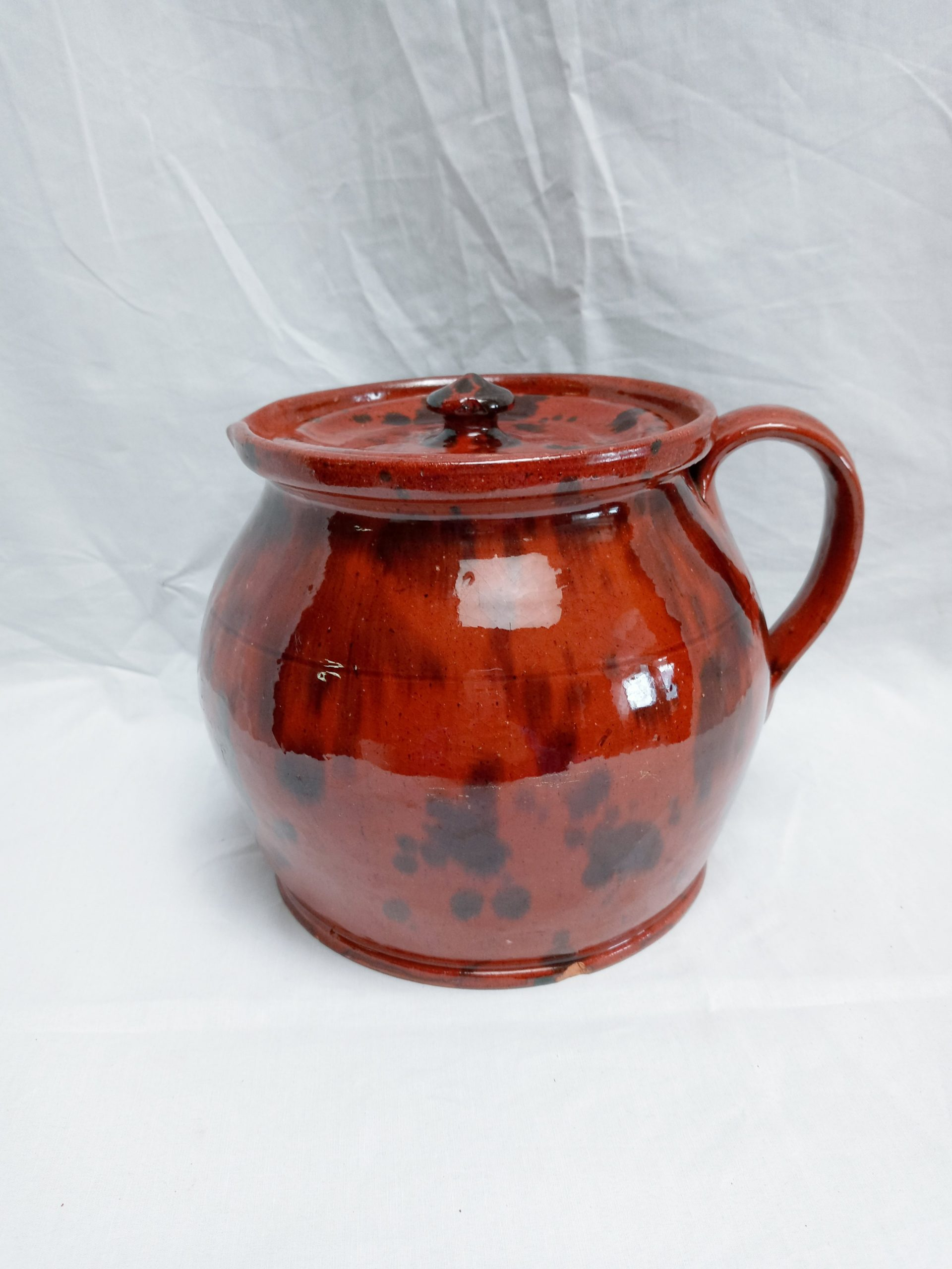 200-36176 Pennsylvania Redware Pottery bean pitcher with cover Image