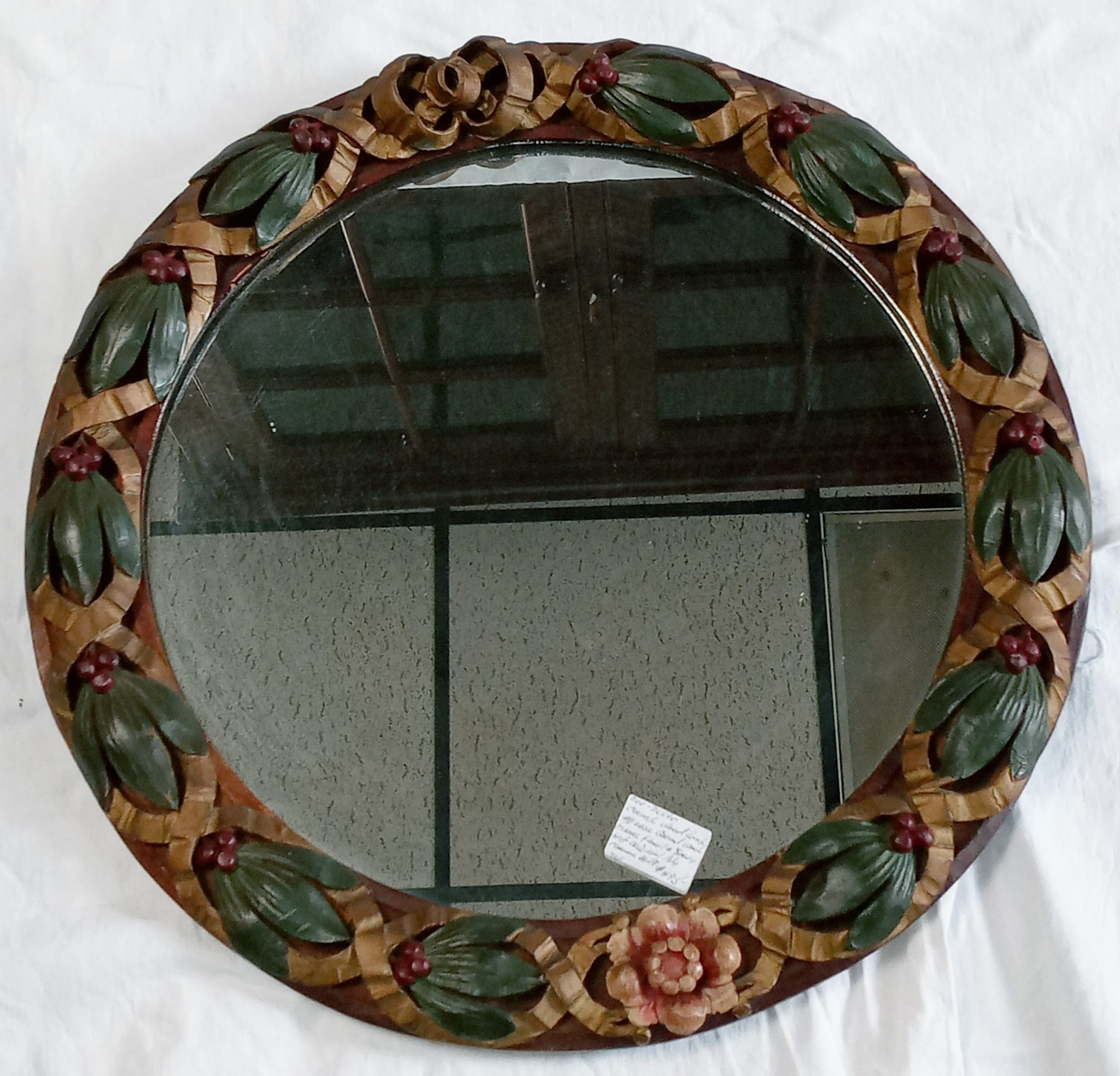 200-36590 Round mirror with carved wood frame Image