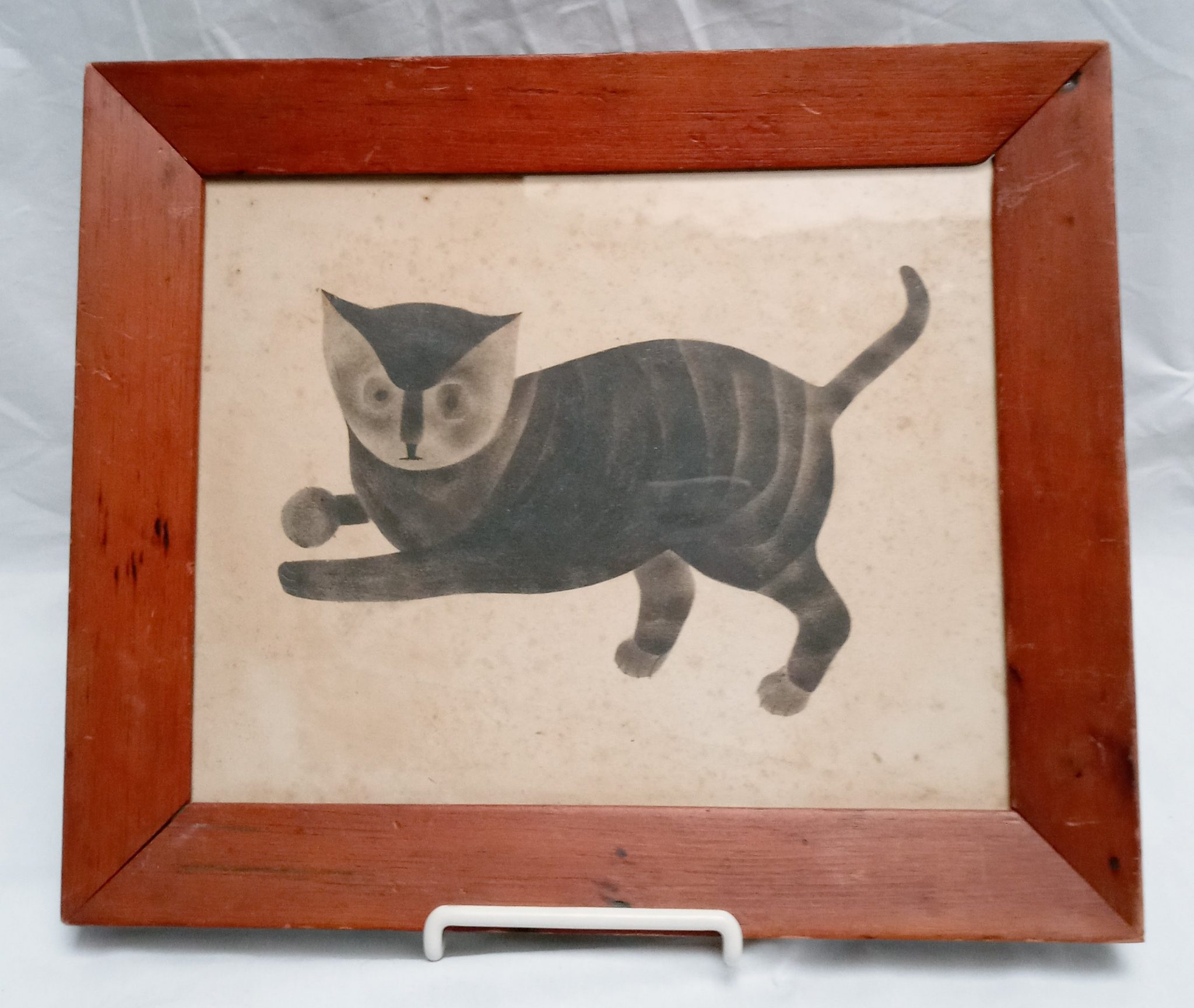 19-34808 Folk Art painting of a cat with ball Image