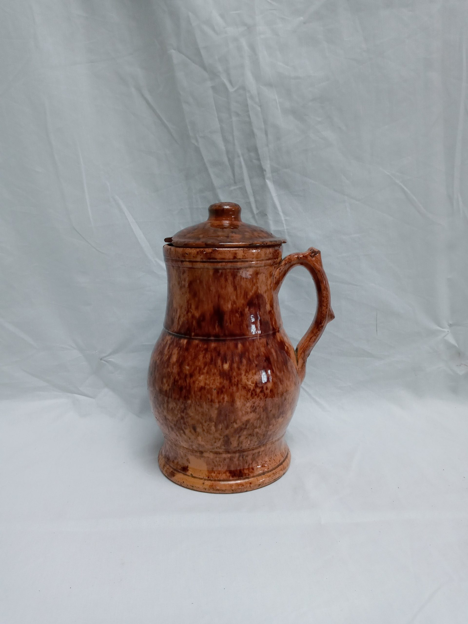 26-26264 Redware Pottery handled pitcher, signed John Bell Image