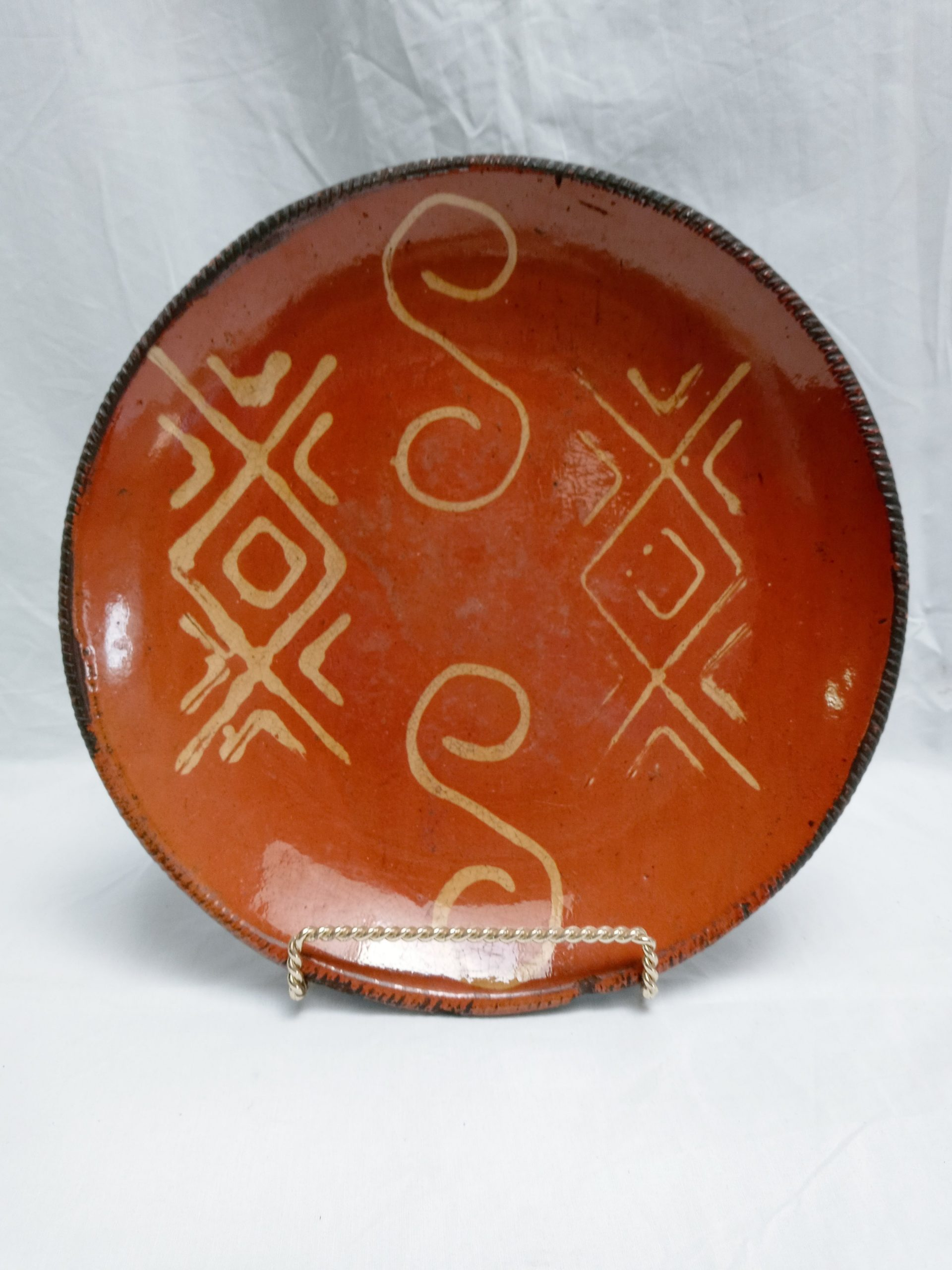 """30-20361 Redware Pottery Charger, Geometric yellow slip decoration, fine condition, Pro. New Jersey, 12 1/4"""" Image"""