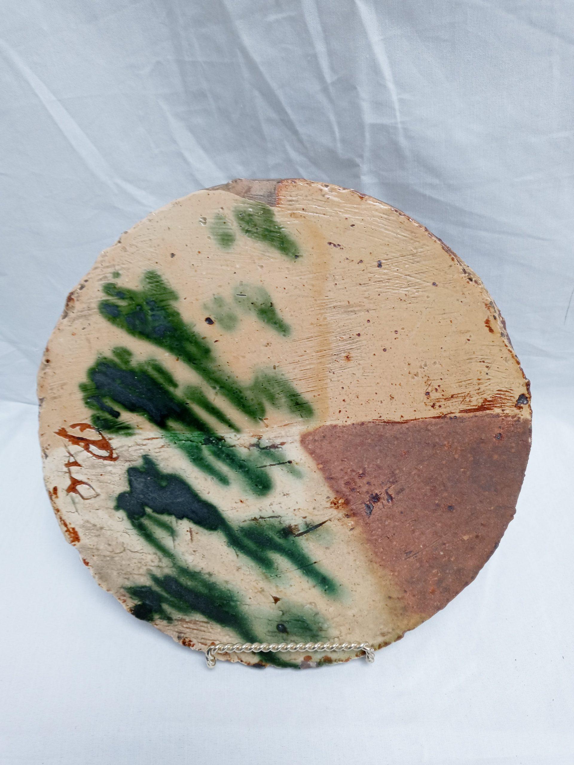 31-20868 Rare Folk Art Redware Pottery hot plate Image